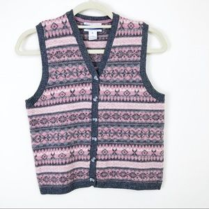 Pendleton Lambs Wool Button Front Vest Size Small